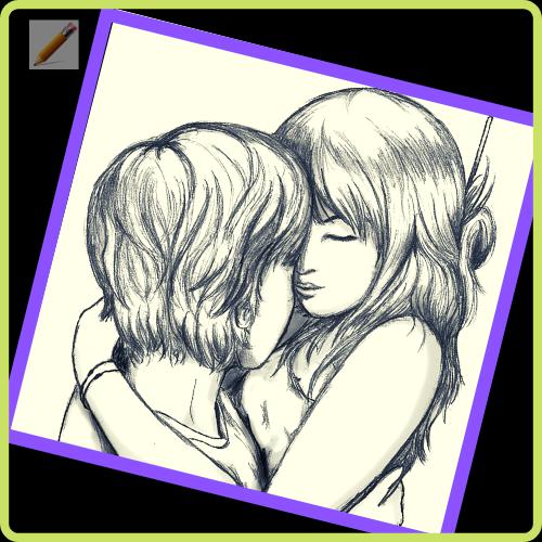 dibujos a lapiz de anime parejas